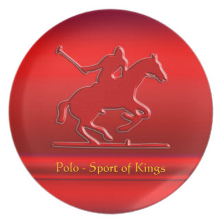Embossed Polo Pony and Rider, red chrome-look Party Plate