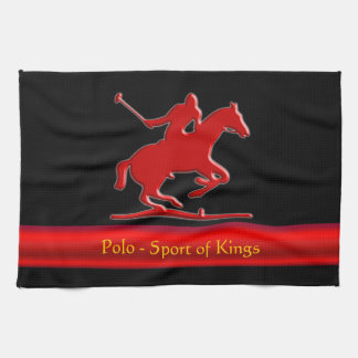 Embossed Polo Pony and Rider, red chrome-look Tea Towel