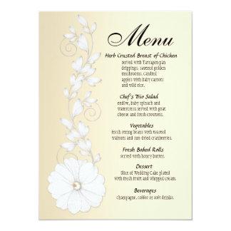 Embossed Posy w/Pearl Menu - metallic champagne Personalized Invites