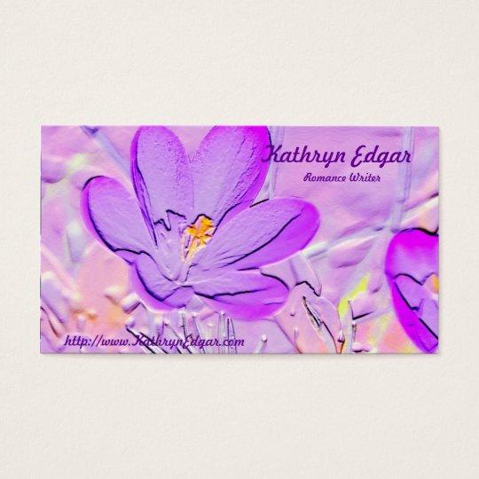 Embossed Purple Crocus Author Business Cards