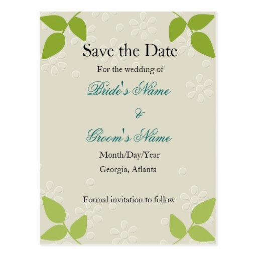 Embossed - Save the Date card Post Card