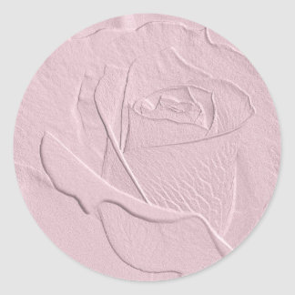 Embossed Soft Pink Rose Classic Round Sticker