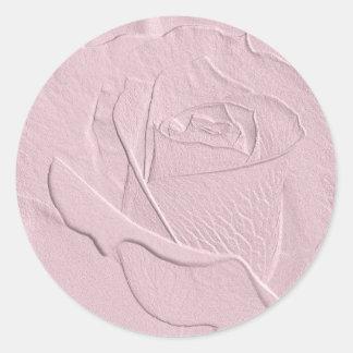 Embossed Soft Pink Rose Round Sticker