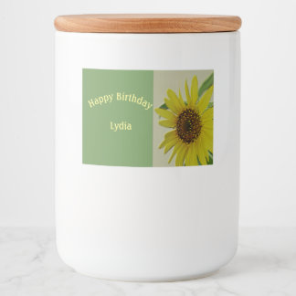 Embossed Sunflower Happy Birthday Custom Food Label