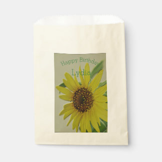 Embossed Sunflower Happy Birthday Personalized Favour Bags