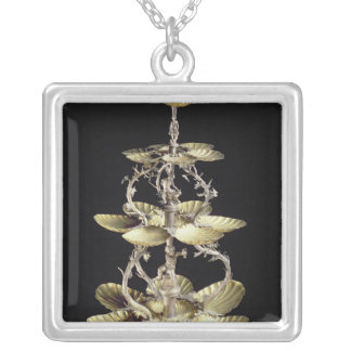 Embossed table centrepiece silver plated necklace