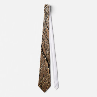 Embossed Tree Branches Brown Tie