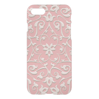 Embossed White on Pink Girly Swirls iPhone 7 Case