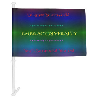 """Embrace Diversity"" LGBT Rainbow Pattern Car Flag"