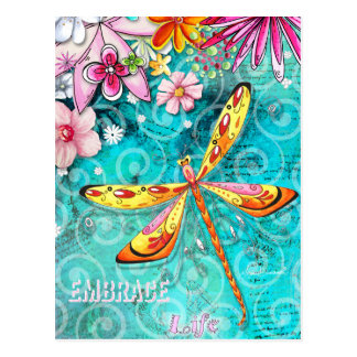 Embrace Life Dragonfly Postcard