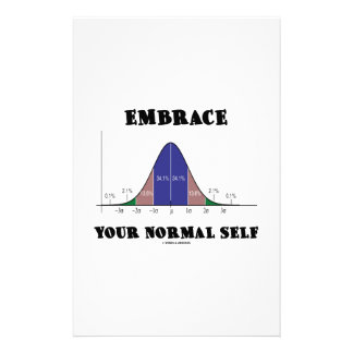 Embrace Your Normal Self (Bell Curve Humor) Custom Stationery