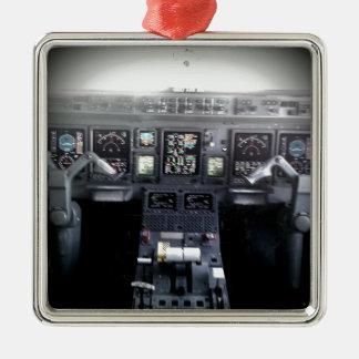 Embraer 145 Flight Deck Silver-Colored Square Decoration
