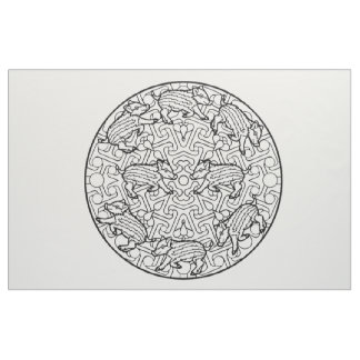 Embroider Your Own Pig Hogs Piglets Mandala Fabric