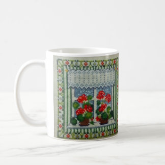Embroidered art cross point window with flowers basic white mug