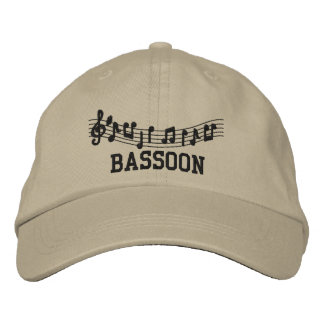 Embroidered Bassoon Music Cap Embroidered Hats