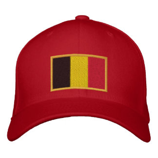 Embroidered Belgian Flag on Cap Embroidered Hats