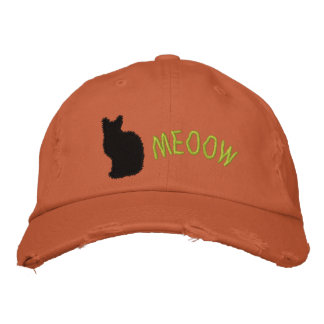 Embroidered  Black Cat Distressed Cap