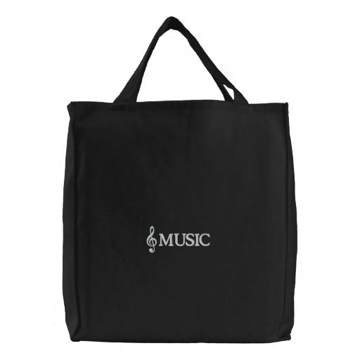 Embroidered Black Music Tote Bag