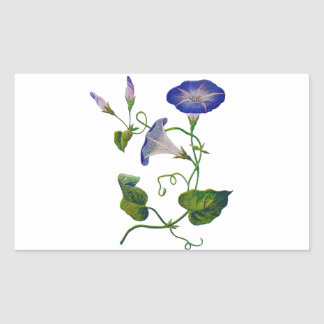 Embroidered Blue Morning Glories Rectangular Sticker