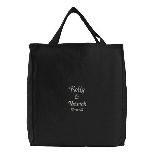 Embroidered Bride/ Groom Names & Date Wedding Tote Bag
