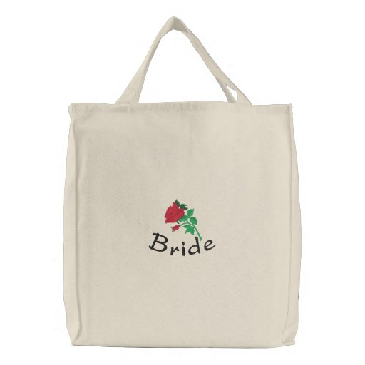 Embroidered Bride's Tote Bag With Red Rose