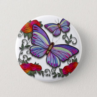 embroidered butterflies 6 cm round badge