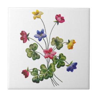 Embroidered Colorful Wood Sorrel Small Square Tile