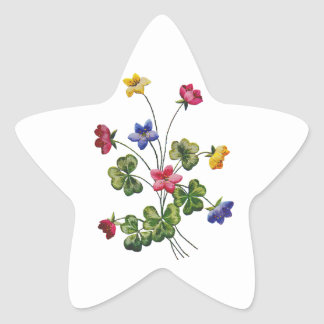 Embroidered Colorful Wood Sorrel Star Sticker