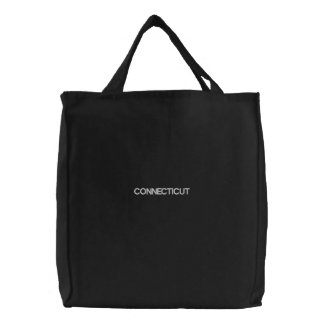 Embroidered Connecticut Tote Bag Black