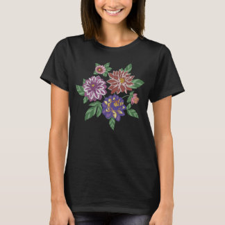 Embroidered Dahlia Flowers T-Shirt