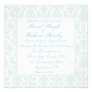 Embroidered Damask Wedding Invitations Personalized Invitation