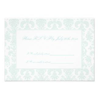 Embroidered Damask Wedding R S V P Cards Custom Invites