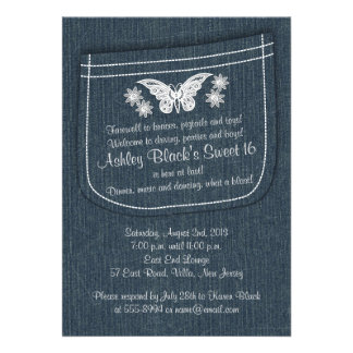 Embroidered Denim Butterfly Flowers Sweet 16 Personalized Announcement