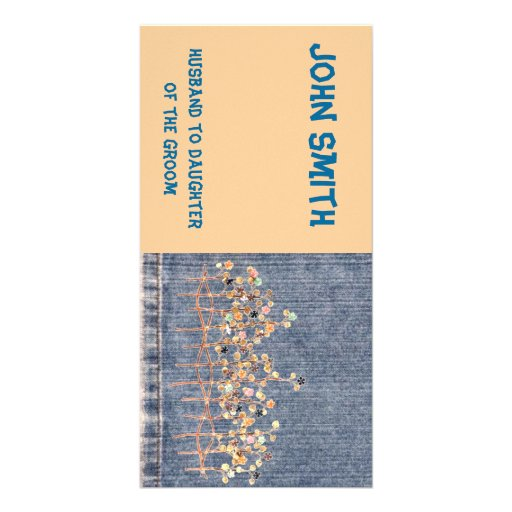 Embroidered Denim Place card Picture Card