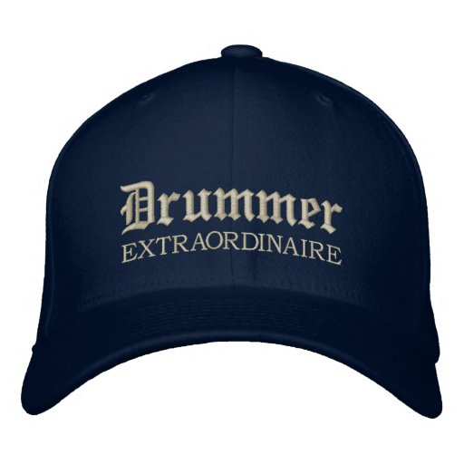 Embroidered Drummer Extraordinaire Music Cap Embroidered Hat