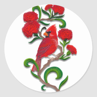 embroidered exotic bird classic round sticker