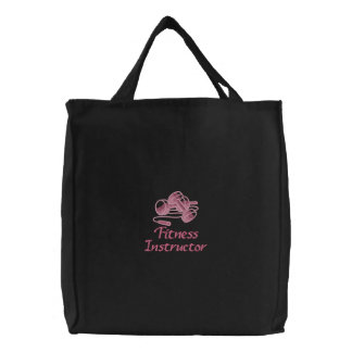 Embroidered Fitness Instructor Tote Bag