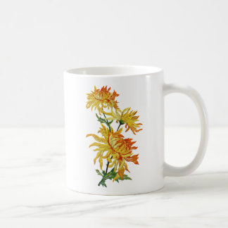 Embroidered Golden Chinese Chrysanthemum Coffee Mug