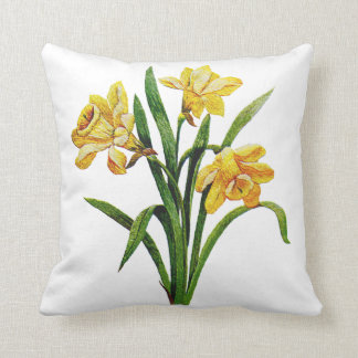 Embroidered Golden Daffodils Cushion