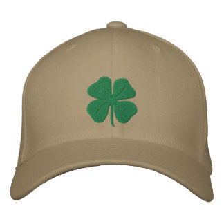Embroidered Irish Four Leaf Clover Embroidered Cap