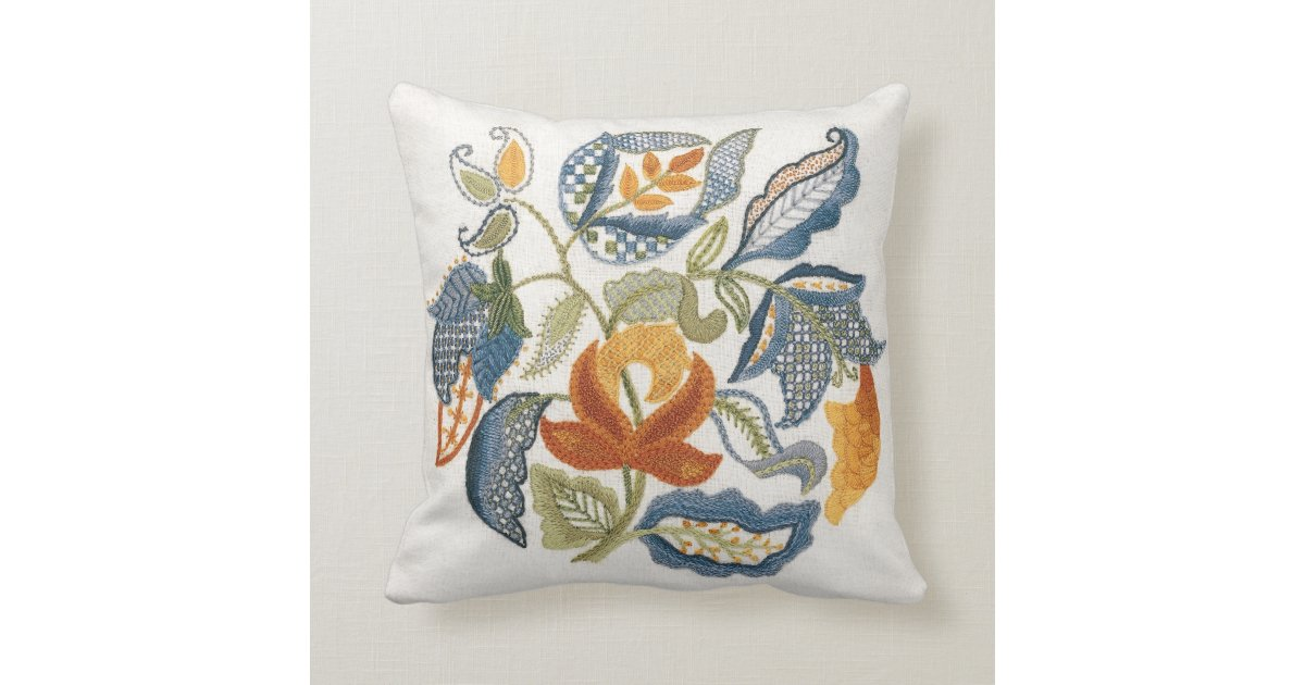 Embroidered jacobean leaves throw pillow zazzle