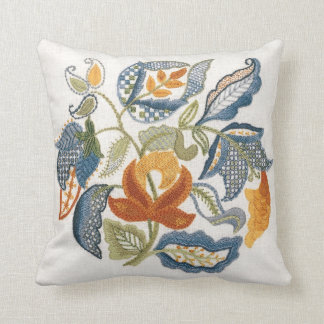 Embroidered Jacobean Leaves Throw Pillow
