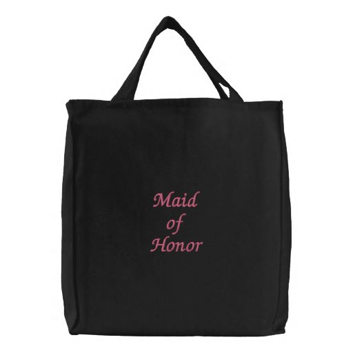 "Embroidered ""Maid of Honor"" tote Canvas Bag"