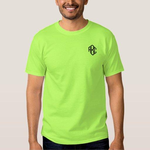Embroidered Mens Shirt Lime Green Monogram