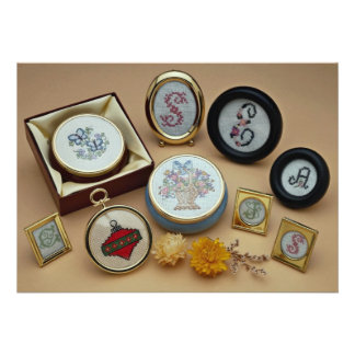 Embroidered miniatures in frames announcements