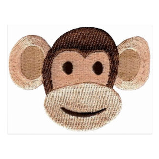 Embroidered Monkey Head Postcards