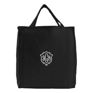 Embroidered Monogram Initials Tote Bag