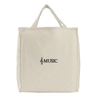 Embroidered Music Tote Bag