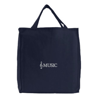 Embroidered Navy Music Tote Bag