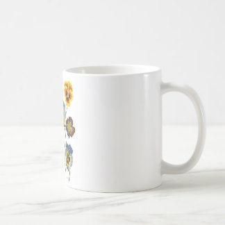 Embroidered Parade of Pansies Coffee Mug